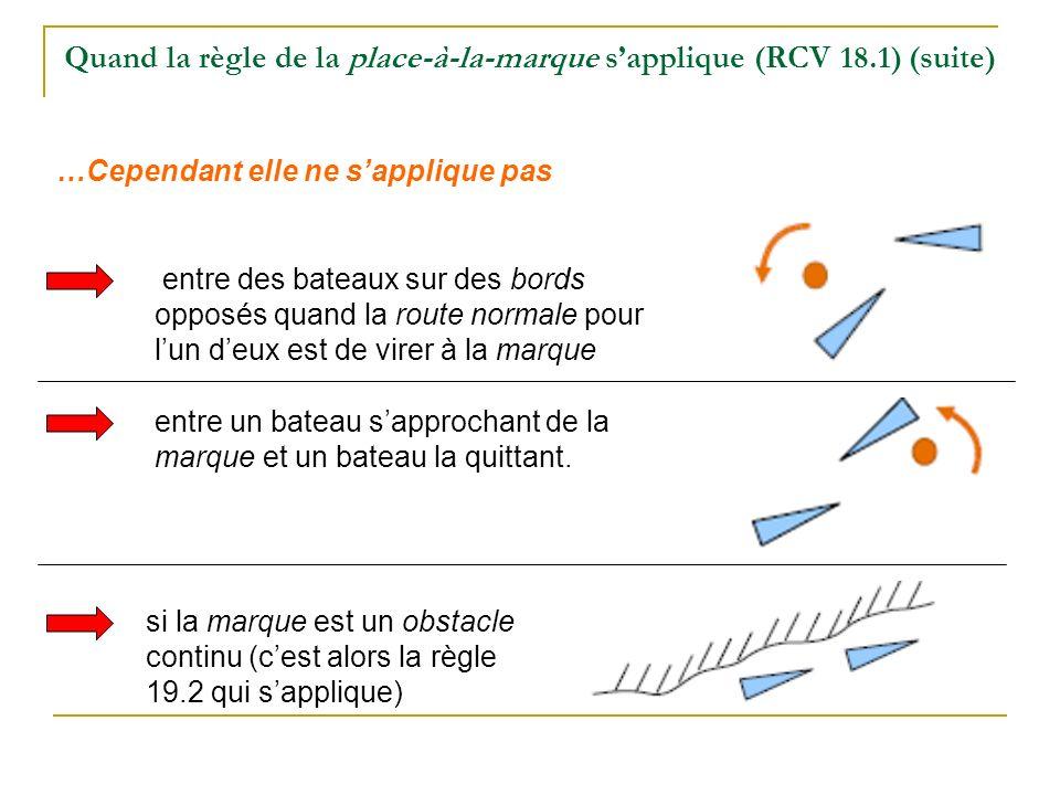 Quand la règle de la place-à-la-marque sapplique (RCV 18.1) (suite) entre des bateaux sur des bords opposés quand la route normale pour lun deux est d