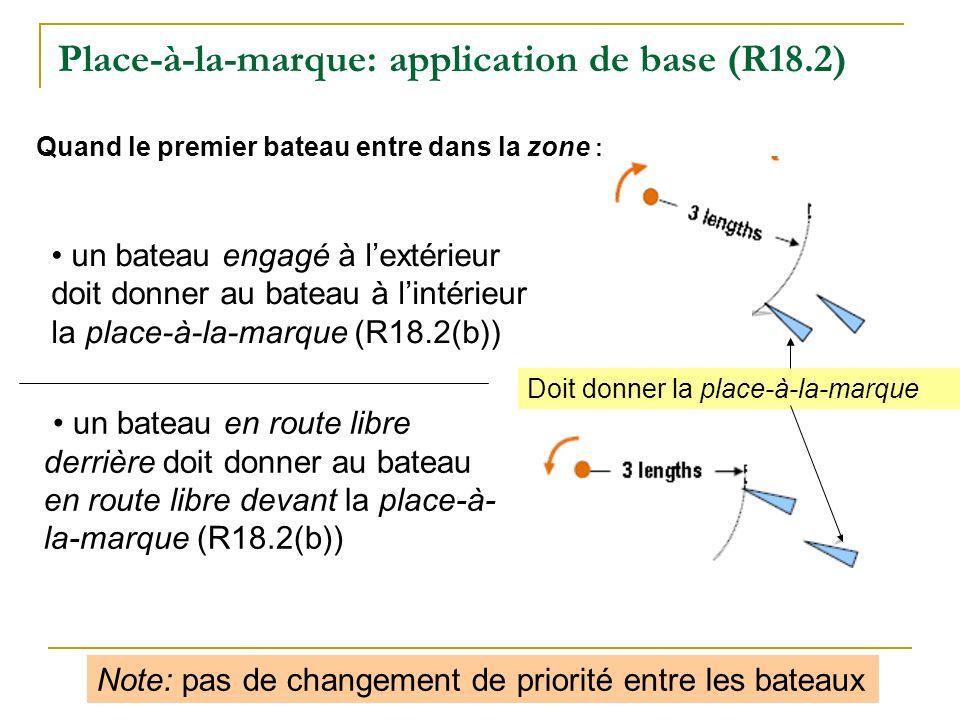 Place-à-la-marque: application de base (R18.2) un bateau engagé à lextérieur doit donner au bateau à lintérieur la place-à-la-marque (R18.2(b)) un bat