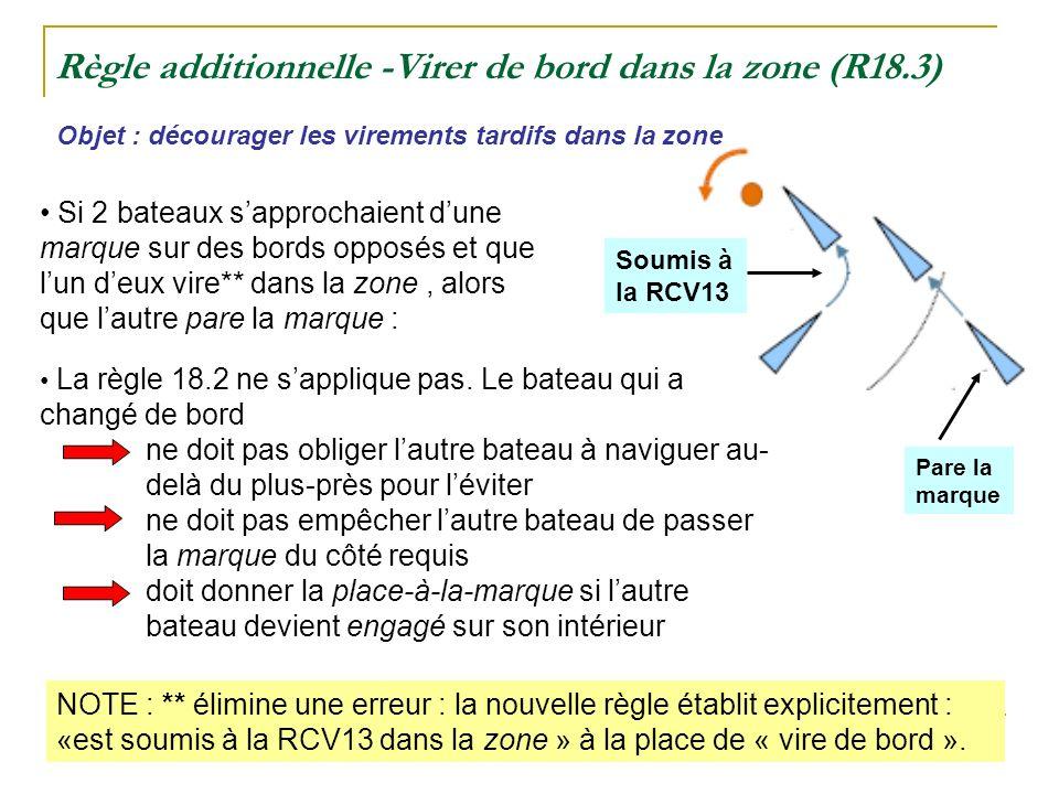 Règle additionnelle -Virer de bord dans la zone (R18.3) Objet : décourager les virements tardifs dans la zone NOTE : ** élimine une erreur : la nouvelle règle établit explicitement : «est soumis à la RCV13 dans la zone » à la place de « vire de bord ».