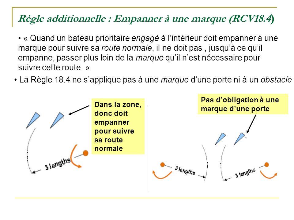 Règle additionnelle : Empanner à une marque (RCV18.4 ) « Quand un bateau prioritaire engagé à lintérieur doit empanner à une marque pour suivre sa rou