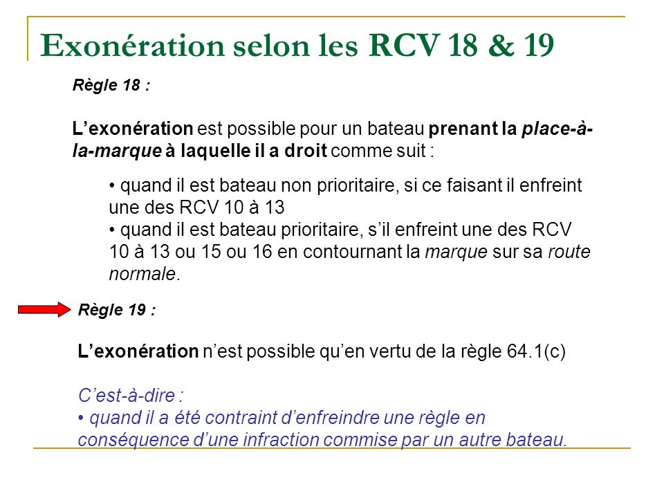 Exonération selon les RCV 18 & 19 Règle 18 : Lexonération est possible pour un bateau prenant la place-à- la-marque à laquelle il a droit comme suit : quand il est bateau non prioritaire, si ce faisant il enfreint une des RCV 10 à 13 quand il est bateau prioritaire, sil enfreint une des RCV 10 à 13 ou 15 ou 16 en contournant la marque sur sa route normale.