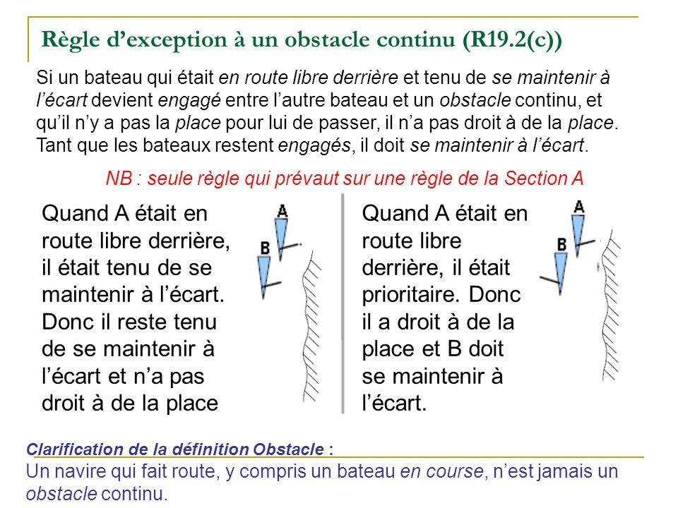 Règle dexception à un obstacle continu (R19.2(c)) Si un bateau qui était en route libre derrière et tenu de se maintenir à lécart devient engagé entre