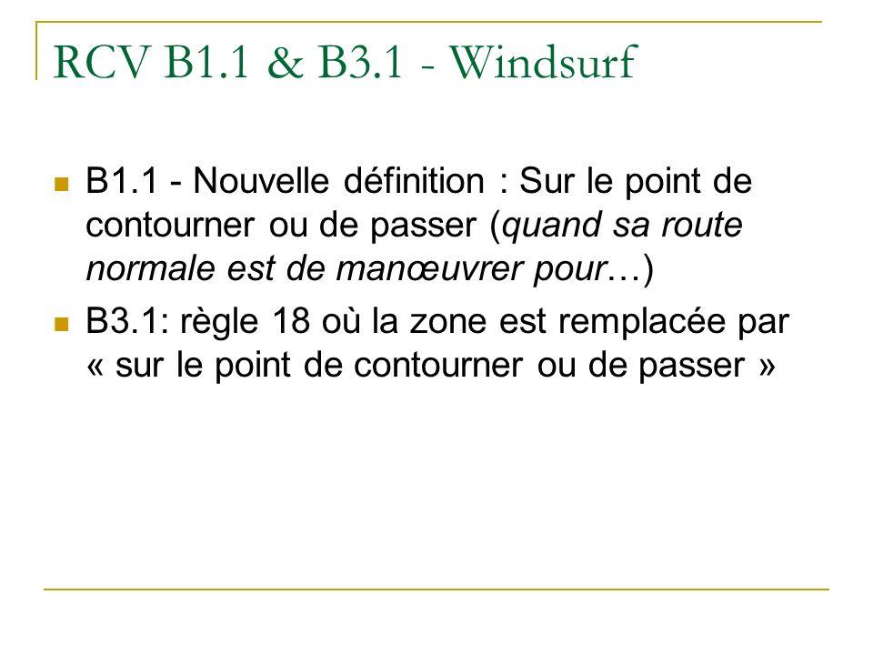 RCV B1.1 & B3.1 - Windsurf B1.1 - Nouvelle définition : Sur le point de contourner ou de passer (quand sa route normale est de manœuvrer pour…) B3.1: règle 18 où la zone est remplacée par « sur le point de contourner ou de passer »