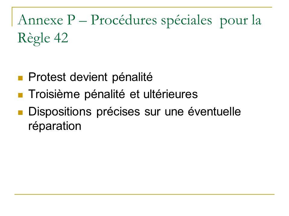 Annexe P – Procédures spéciales pour la Règle 42 Protest devient pénalité Troisième pénalité et ultérieures Dispositions précises sur une éventuelle réparation