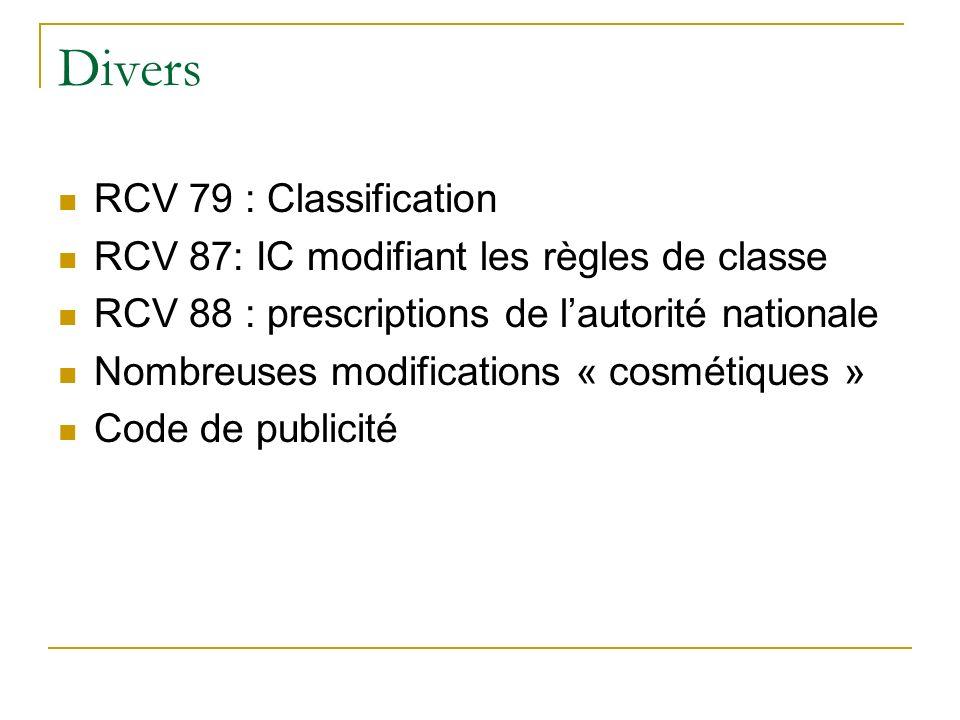 Divers RCV 79 : Classification RCV 87: IC modifiant les règles de classe RCV 88 : prescriptions de lautorité nationale Nombreuses modifications « cosmétiques » Code de publicité