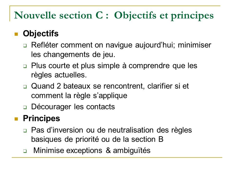 Nouvelle section C : Objectifs et principes Objectifs Refléter comment on navigue aujourdhui; minimiser les changements de jeu. Plus courte et plus si
