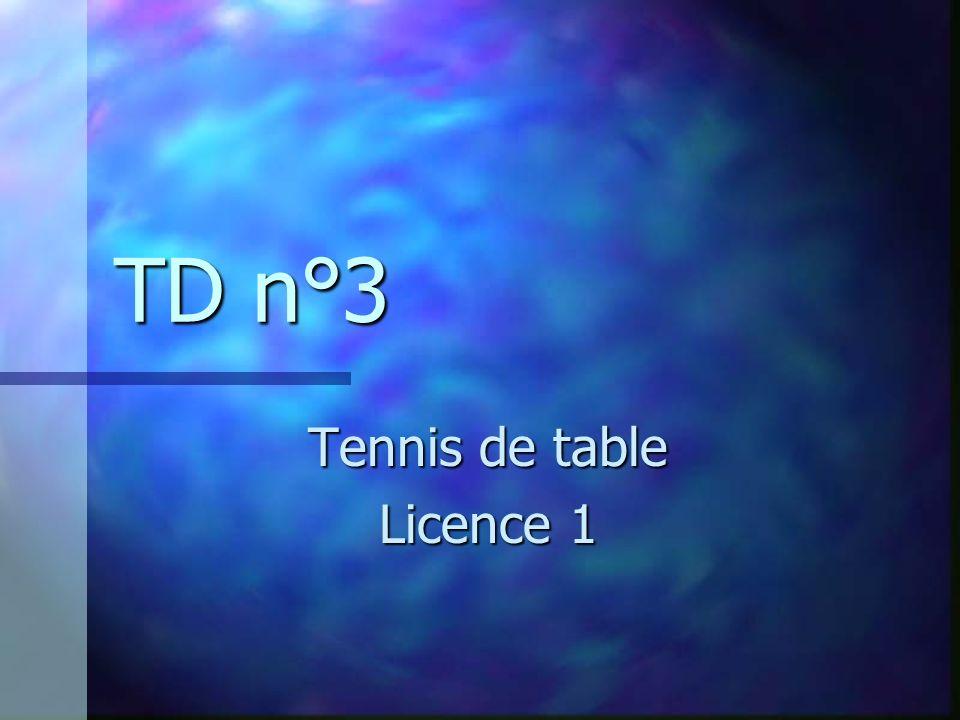 TD n°3 Tennis de table Licence 1