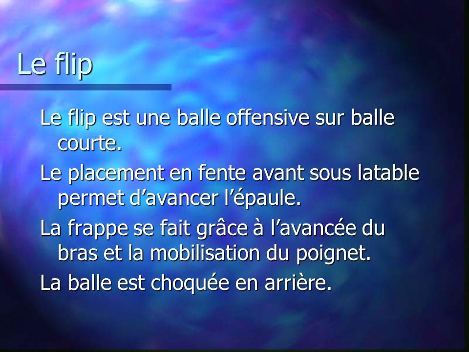 Le flip Le flip est une balle offensive sur balle courte. Le placement en fente avant sous latable permet davancer lépaule. La frappe se fait grâce à