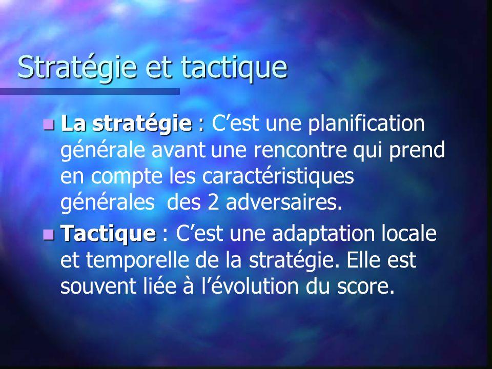 Stratégie et tactique La stratégie : La stratégie : Cest une planification générale avant une rencontre qui prend en compte les caractéristiques génér