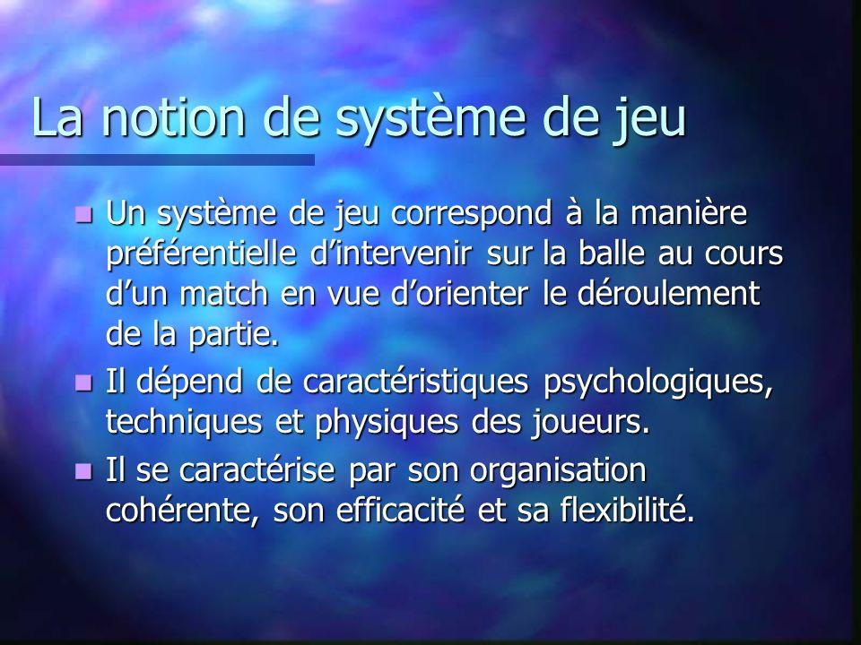 La notion de système de jeu Un système de jeu correspond à la manière préférentielle dintervenir sur la balle au cours dun match en vue dorienter le d