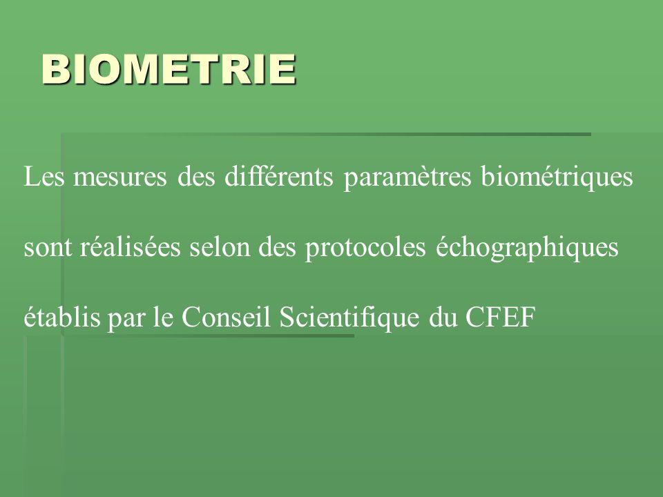BIOMETRIE Les mesures des différents paramètres biométriques sont réalisées selon des protocoles échographiques établis par le Conseil Scientifique du