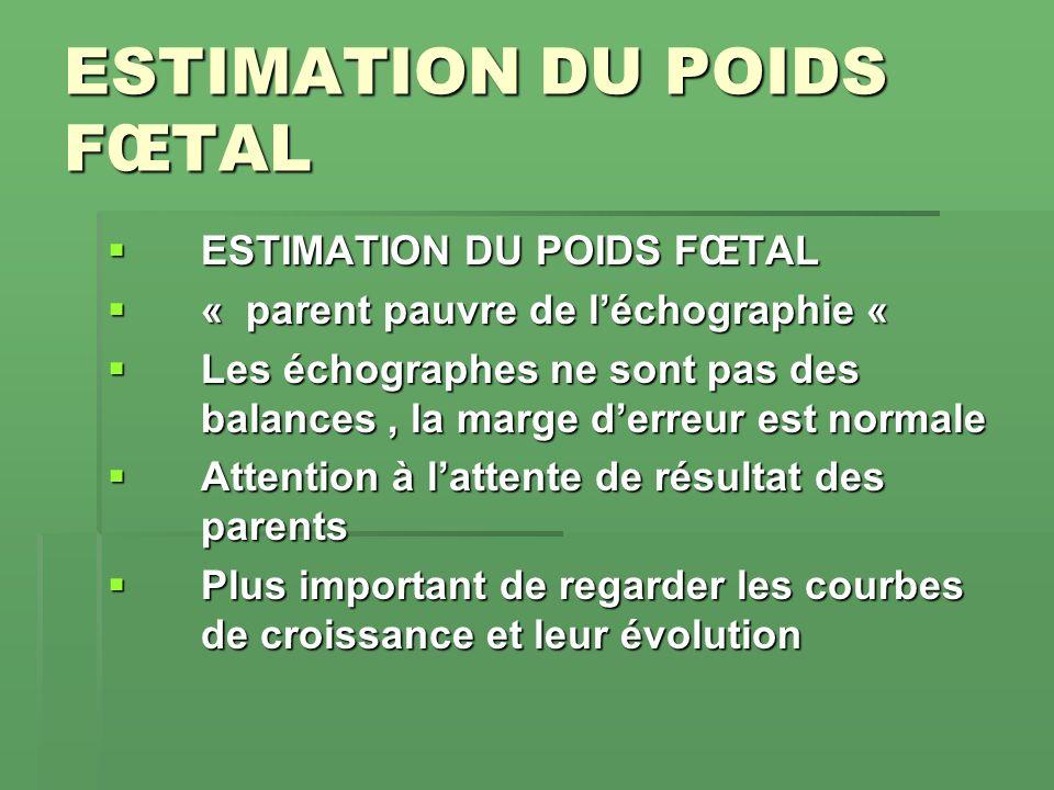 ESTIMATION DU POIDS FŒTAL ESTIMATION DU POIDS FŒTAL « parent pauvre de léchographie « « parent pauvre de léchographie « Les échographes ne sont pas de