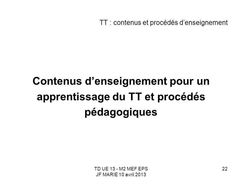 TD UE 13 - M2 MEF EPS JF MARIE 10 avril 2013 22 TT : contenus et procédés denseignement Contenus denseignement pour un apprentissage du TT et procédés