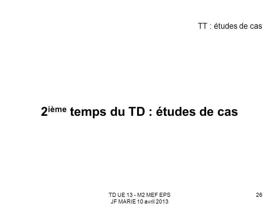 TD UE 13 - M2 MEF EPS JF MARIE 10 avril 2013 26 TT : études de cas 2 ième temps du TD : études de cas