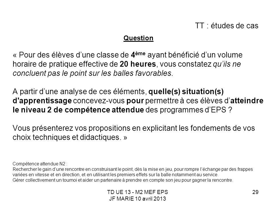 TD UE 13 - M2 MEF EPS JF MARIE 10 avril 2013 29 TT : études de cas Question « Pour des élèves dune classe de 4 ème ayant bénéficié dun volume horaire