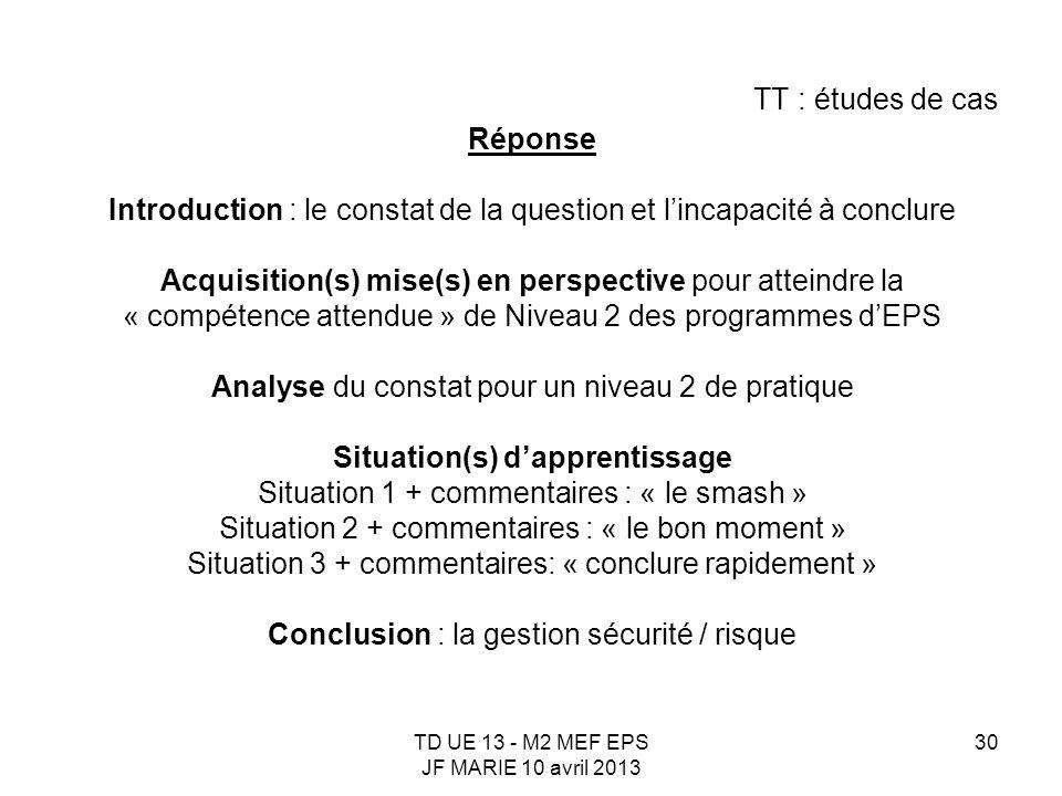 TD UE 13 - M2 MEF EPS JF MARIE 10 avril 2013 30 TT : études de cas Réponse Introduction : le constat de la question et lincapacité à conclure Acquisit