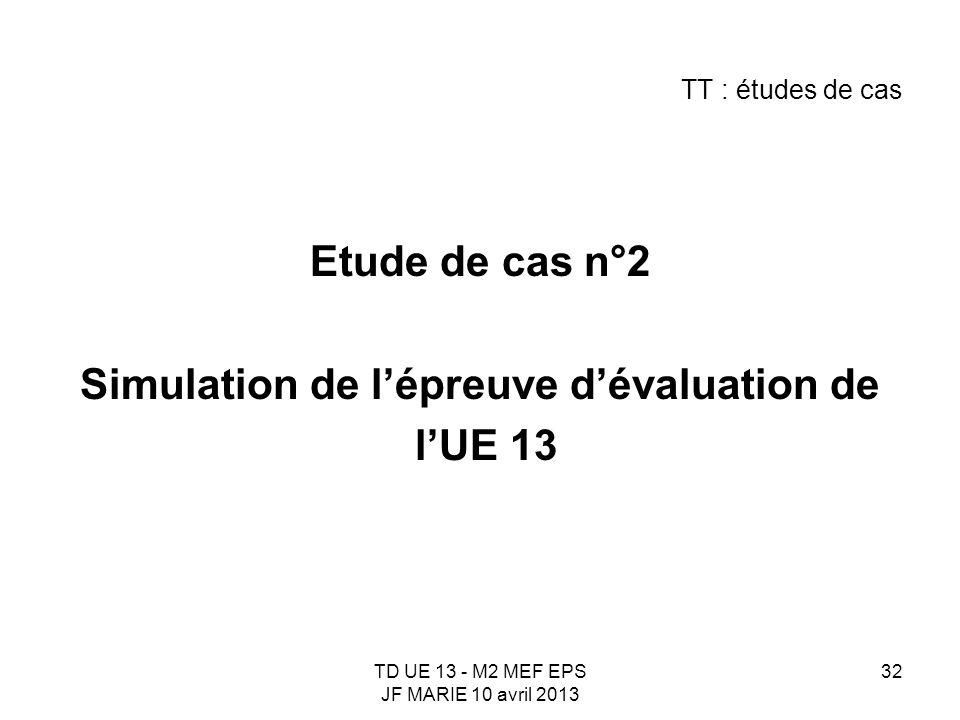 TD UE 13 - M2 MEF EPS JF MARIE 10 avril 2013 32 TT : études de cas Etude de cas n°2 Simulation de lépreuve dévaluation de lUE 13