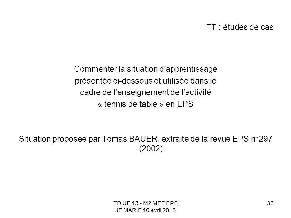 TD UE 13 - M2 MEF EPS JF MARIE 10 avril 2013 33 TT : études de cas Commenter la situation dapprentissage présentée ci-dessous et utilisée dans le cadr