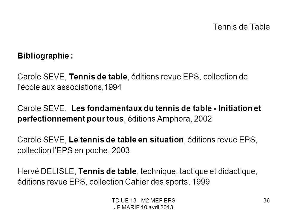 TD UE 13 - M2 MEF EPS JF MARIE 10 avril 2013 36 Tennis de Table Bibliographie : Carole SEVE, Tennis de table, éditions revue EPS, collection de l'écol