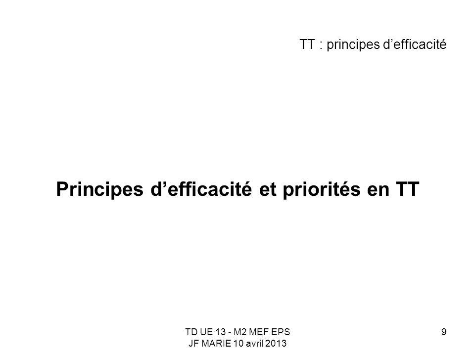 TD UE 13 - M2 MEF EPS JF MARIE 10 avril 2013 9 TT : principes defficacité Principes defficacité et priorités en TT