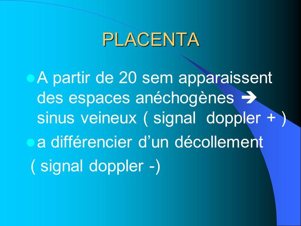 PLACENTA A partir de 20 sem apparaissent des espaces anéchogènes sinus veineux ( signal doppler + ) a différencier dun décollement ( signal doppler -)