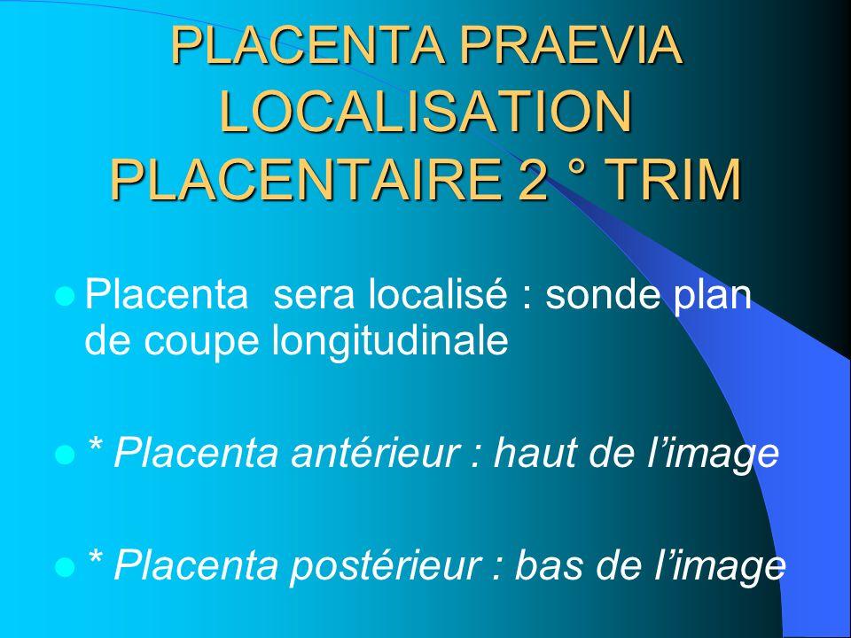 PLACENTA PRAEVIA LOCALISATION PLACENTAIRE 2 ° TRIM Placenta sera localisé : sonde plan de coupe longitudinale * Placenta antérieur : haut de limage *