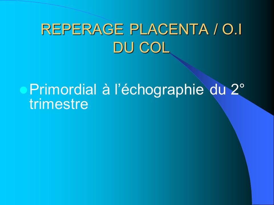 REPERAGE PLACENTA / O.I DU COL Primordial à léchographie du 2° trimestre