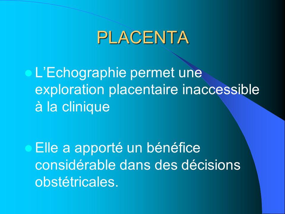PLACENTA LEchographie permet une exploration placentaire inaccessible à la clinique Elle a apporté un bénéfice considérable dans des décisions obstétricales.