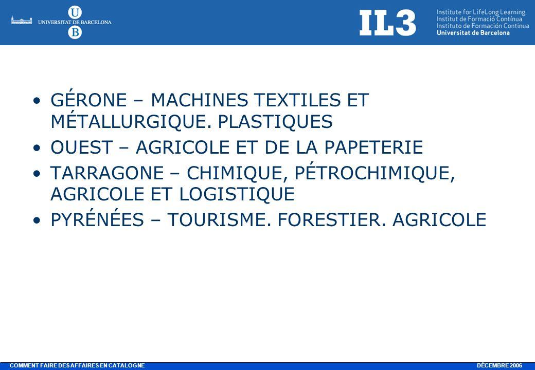DÉCEMBRE 2006 COMMENT FAIRE DES AFFAIRES EN CATALOGNE GÉRONE – MACHINES TEXTILES ET MÉTALLURGIQUE.
