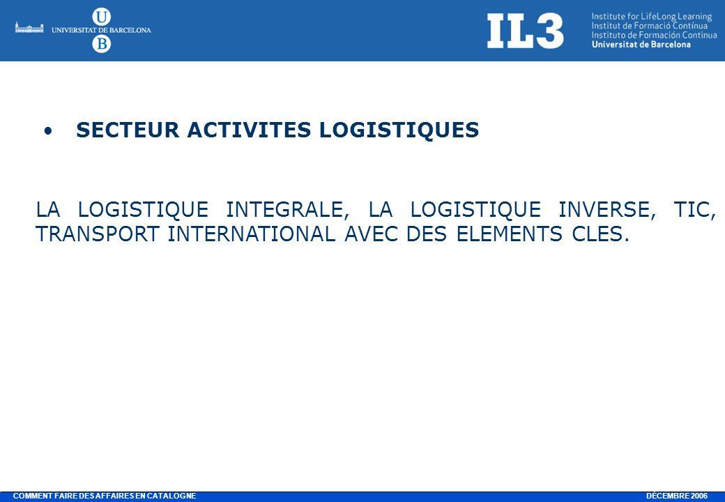 DÉCEMBRE 2006 COMMENT FAIRE DES AFFAIRES EN CATALOGNE SECTEUR ACTIVITES LOGISTIQUES LA LOGISTIQUE INTEGRALE, LA LOGISTIQUE INVERSE, TIC, TRANSPORT INTERNATIONAL AVEC DES ELEMENTS CLES.