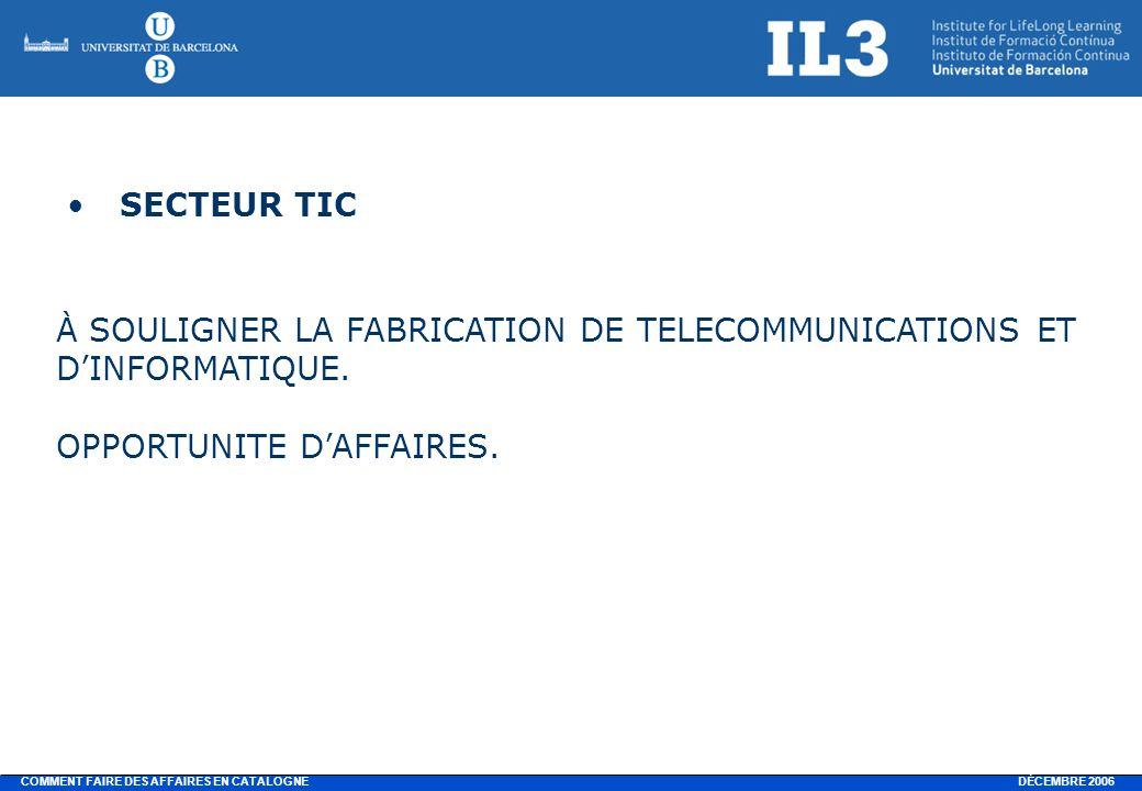 DÉCEMBRE 2006 COMMENT FAIRE DES AFFAIRES EN CATALOGNE SECTEUR TIC À SOULIGNER LA FABRICATION DE TELECOMMUNICATIONS ET DINFORMATIQUE.