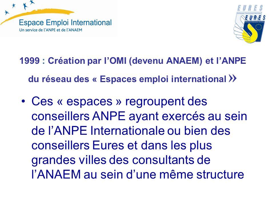 1999 : Création par lOMI (devenu ANAEM) et lANPE du réseau des « Espaces emploi international » Ces « espaces » regroupent des conseillers ANPE ayant exercés au sein de lANPE Internationale ou bien des conseillers Eures et dans les plus grandes villes des consultants de lANAEM au sein dune même structure