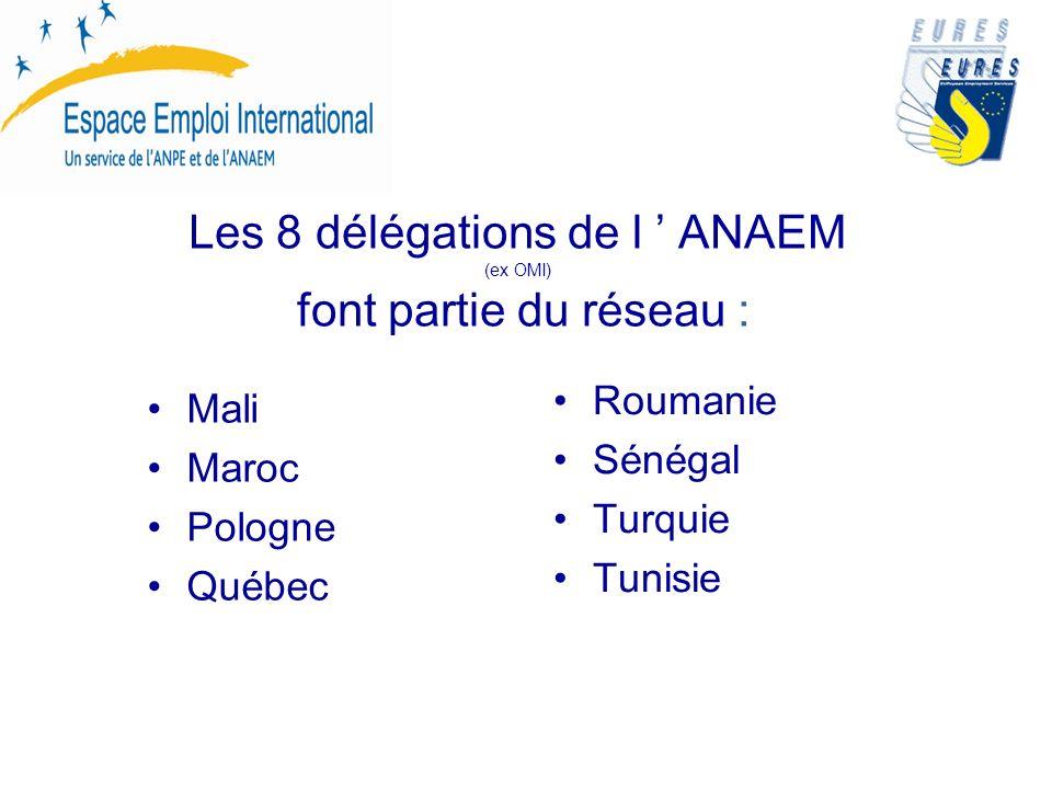 Les 8 délégations de l ANAEM (ex OMI) font partie du réseau : Mali Maroc Pologne Québec Roumanie Sénégal Turquie Tunisie