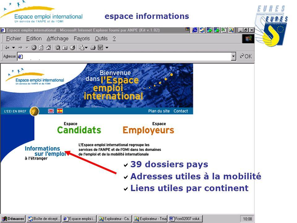 39 dossiers pays Adresses utiles à la mobilité Liens utiles par continent espace informations