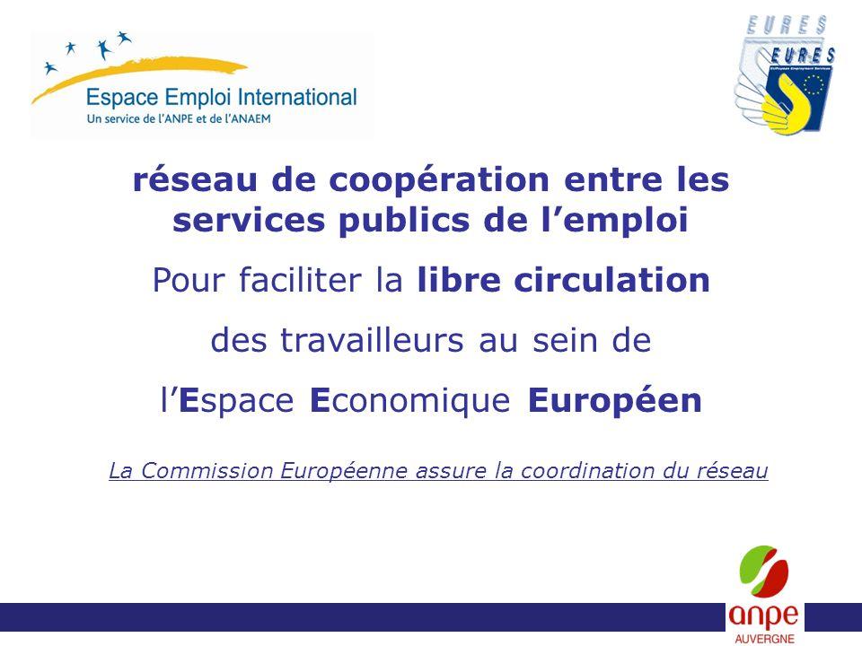 réseau de coopération entre les services publics de lemploi Pour faciliter la libre circulation des travailleurs au sein de lEspace Economique Européen La Commission Européenne assure la coordination du réseau