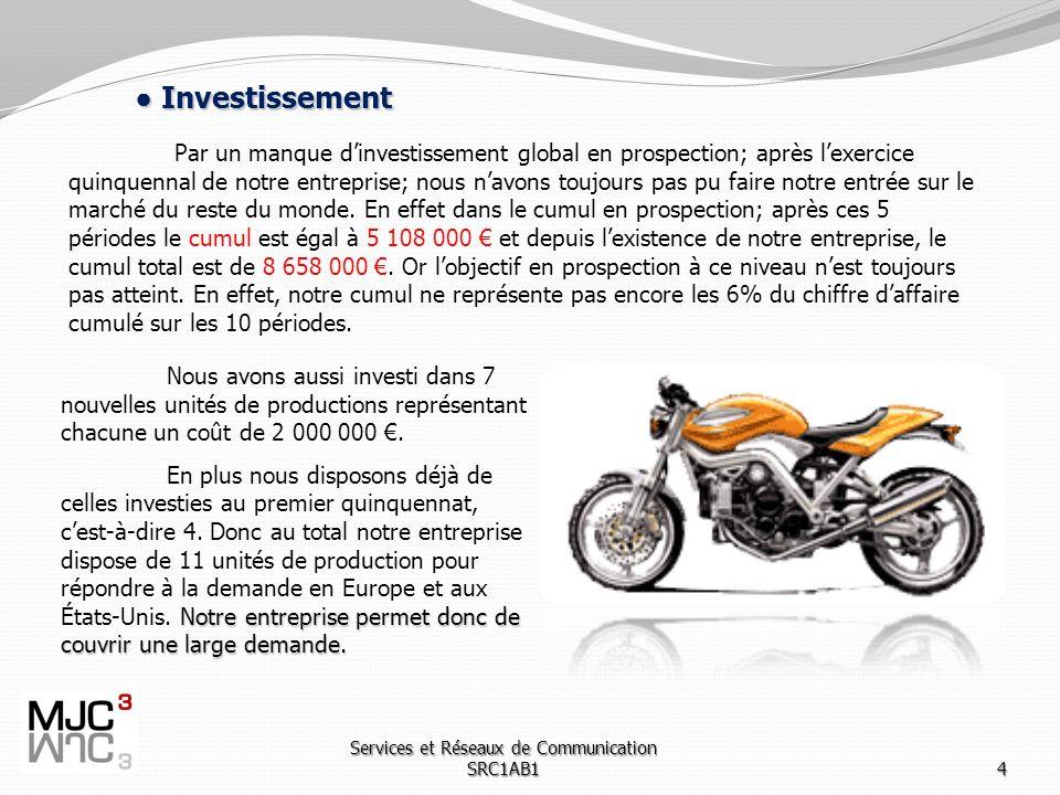 Services et Réseaux de Communication SRC1AB14 Investissement Investissement Par un manque dinvestissement global en prospection; après lexercice quinquennal de notre entreprise; nous navons toujours pas pu faire notre entrée sur le marché du reste du monde.