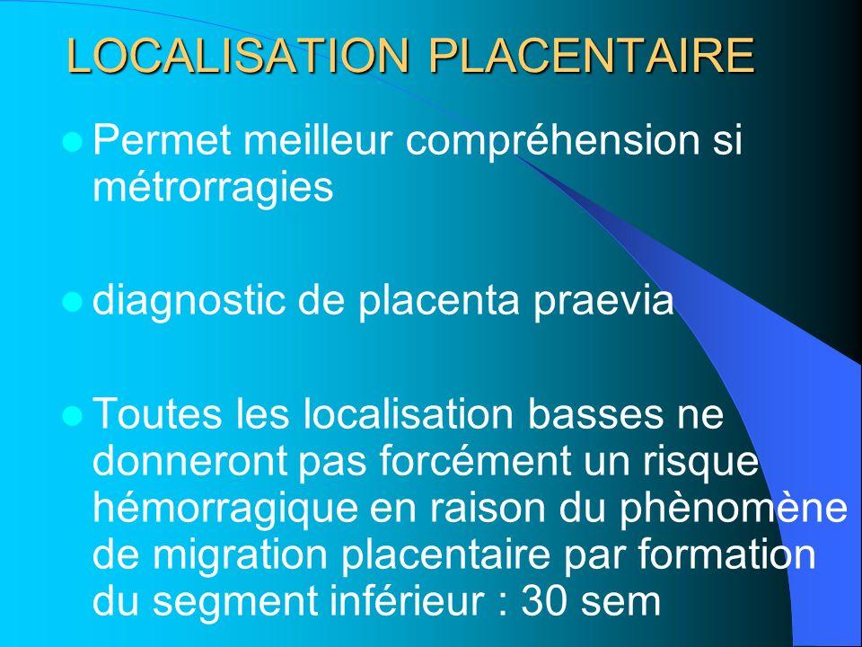 LOCALISATION PLACENTAIRE Permet meilleur compréhension si métrorragies diagnostic de placenta praevia Toutes les localisation basses ne donneront pas