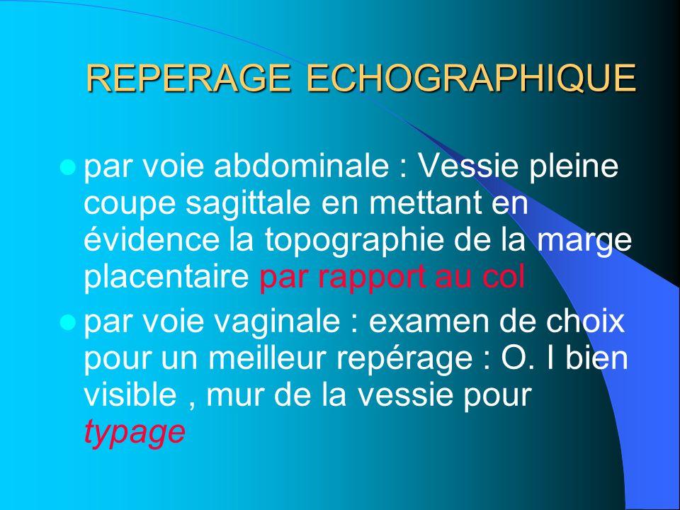 REPERAGE ECHOGRAPHIQUE par voie abdominale : Vessie pleine coupe sagittale en mettant en évidence la topographie de la marge placentaire par rapport a