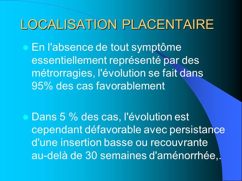 LOCALISATION PLACENTAIRE En l'absence de tout symptôme essentiellement représenté par des métrorragies, l'évolution se fait dans 95% des cas favorable