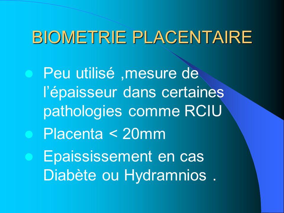 BIOMETRIE PLACENTAIRE Peu utilisé,mesure de lépaisseur dans certaines pathologies comme RCIU Placenta < 20mm Epaississement en cas Diabète ou Hydramni