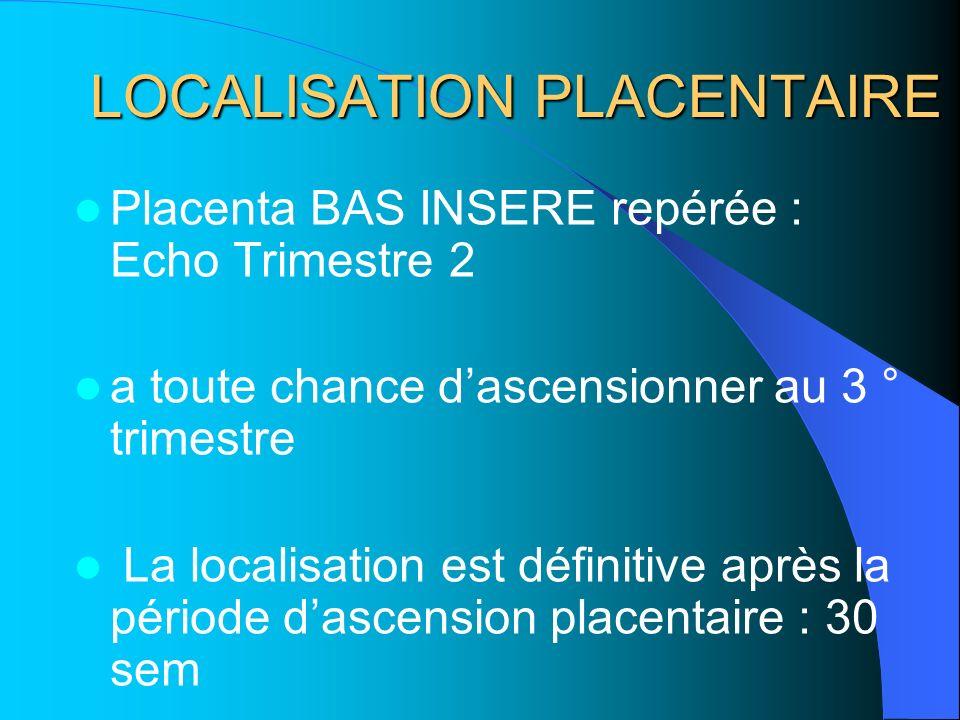 LOCALISATION PLACENTAIRE Placenta BAS INSERE repérée : Echo Trimestre 2 a toute chance dascensionner au 3 ° trimestre La localisation est définitive a