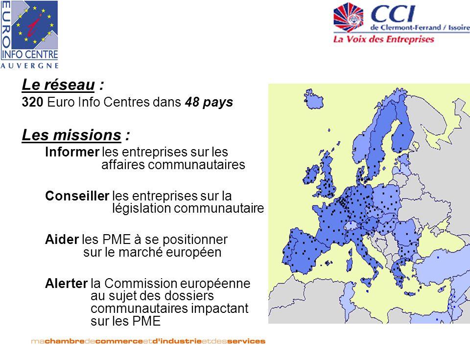 Le réseau : 320 Euro Info Centres dans 48 pays Les missions : Informer les entreprises sur les affaires communautaires Conseiller les entreprises sur