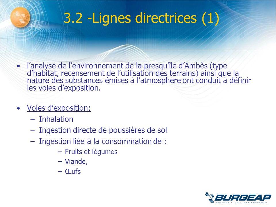 3.2 -Lignes directrices (1) lanalyse de lenvironnement de la presquîle dAmbès (type dhabitat, recensement de lutilisation des terrains) ainsi que la n
