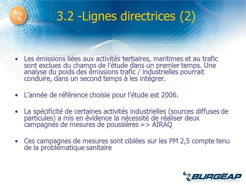 3.2 -Lignes directrices (2) Les émissions liées aux activités tertiaires, maritimes et au trafic sont exclues du champs de létude dans un premier temp
