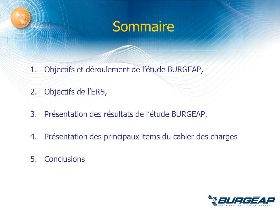 Sommaire 1.Objectifs et déroulement de létude BURGEAP, 2.Objectifs de lERS, 3.Présentation des résultats de létude BURGEAP, 4.Présentation des princip
