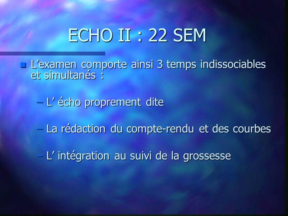ECHO II : 22 SEM n Lexamen comporte ainsi 3 temps indissociables et simultanés : – L écho proprement dite – La rédaction du compte-rendu et des courbes – L intégration au suivi de la grossesse