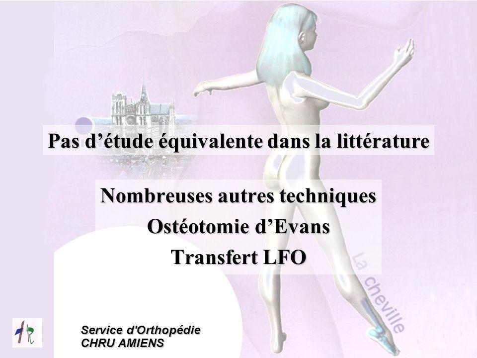 Service d'Orthopédie CHRU AMIENS Nombreuses autres techniques Ostéotomie dEvans Transfert LFO Pas détude équivalente dans la littérature