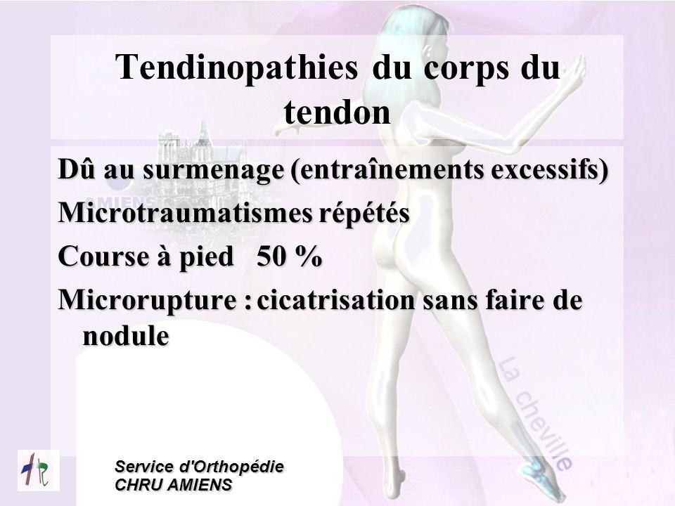 Service d'Orthopédie CHRU AMIENS Tendinopathies du corps du tendon Dû au surmenage (entraînements excessifs) Microtraumatismes répétés Course à pied 5
