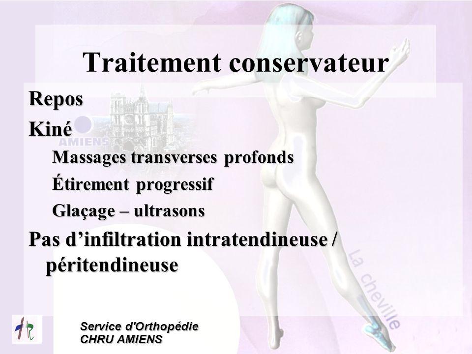 Service d'Orthopédie CHRU AMIENS Traitement conservateur ReposKiné Massages transverses profonds Étirement progressif Glaçage – ultrasons Pas dinfiltr