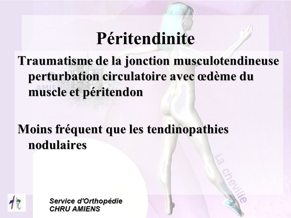 Service d'Orthopédie CHRU AMIENS Péritendinite Traumatisme de la jonction musculotendineuse perturbation circulatoire avec œdème du muscle et péritend